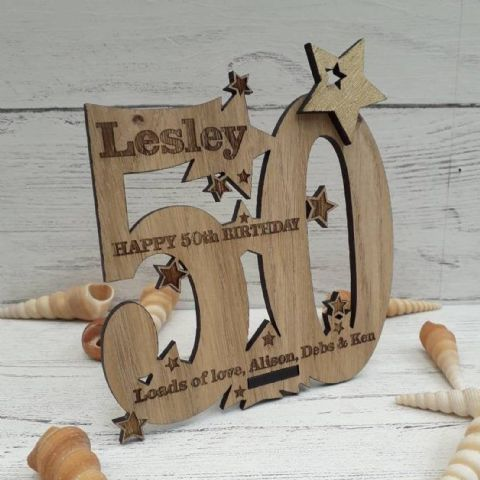 Personalised Fiftieth 50th Birthday Celebration Card Oak Wooden Keepsake Gift